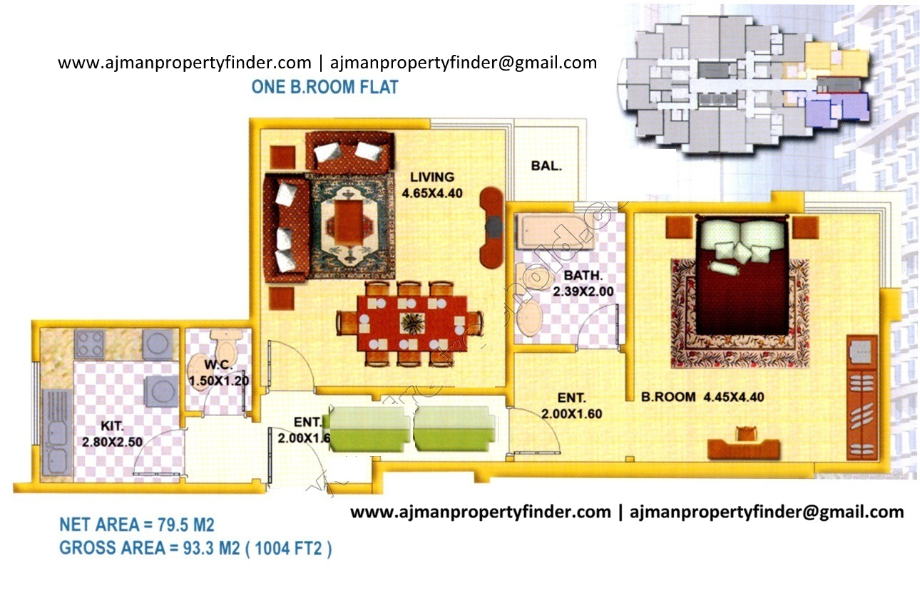 1bhk floor plan | falcon tower | Size 1004 sqft | Ajman Property Finder