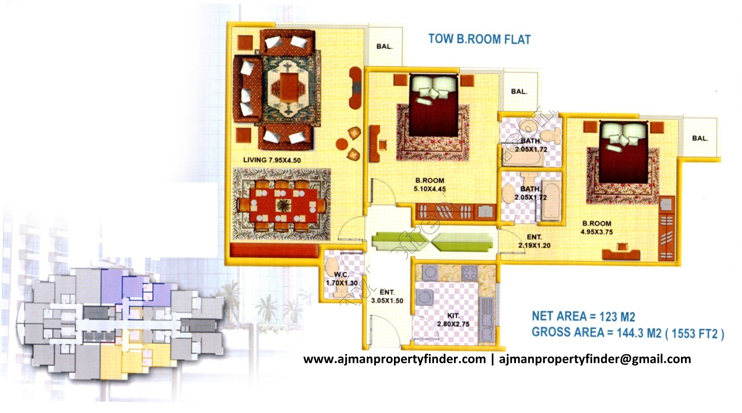 2 bhk floor plan | falcon tower | Size 1553 sqft | Ajman Property Finder