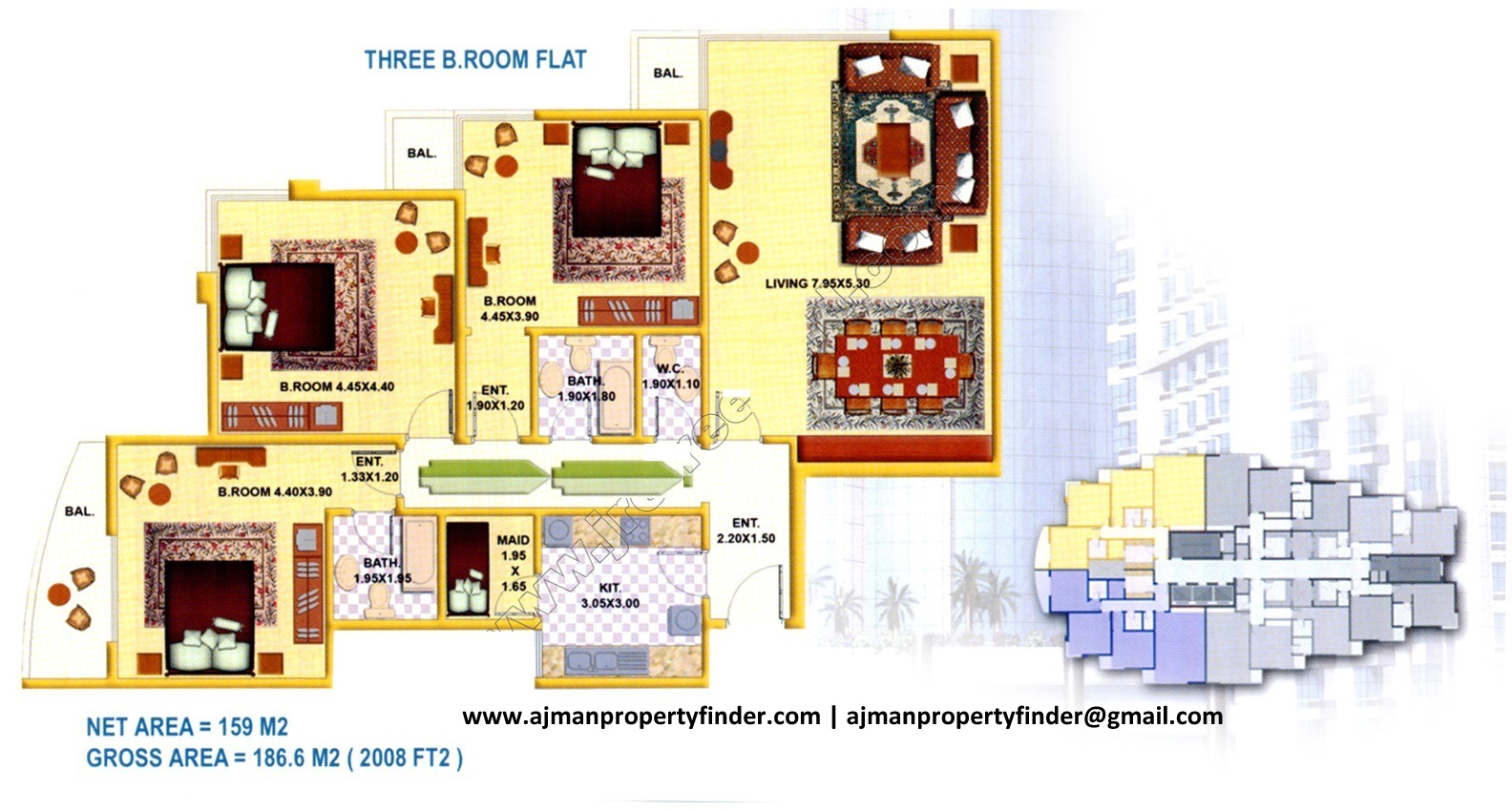 3 bhk floor plan | falcon tower | Size 2008 sqft | Ajman Property Finder