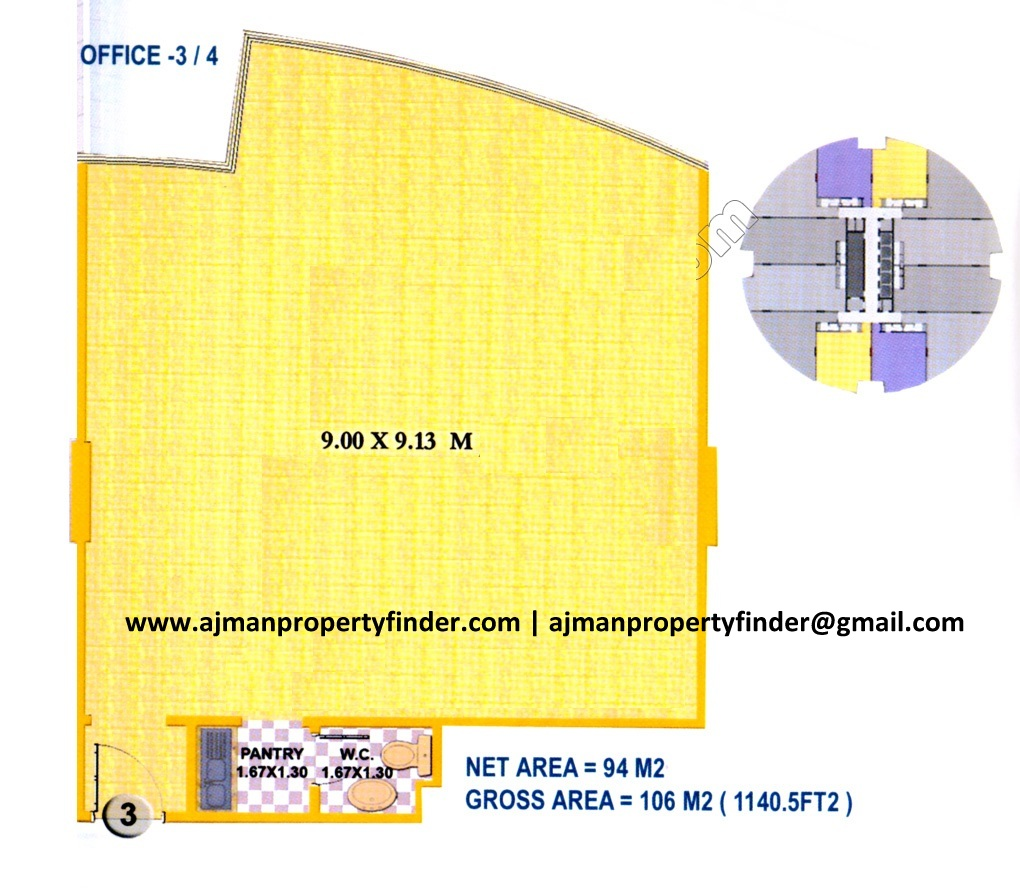 office floor plan | falcon tower ajman 1140 sqft | Ajman Property Finder