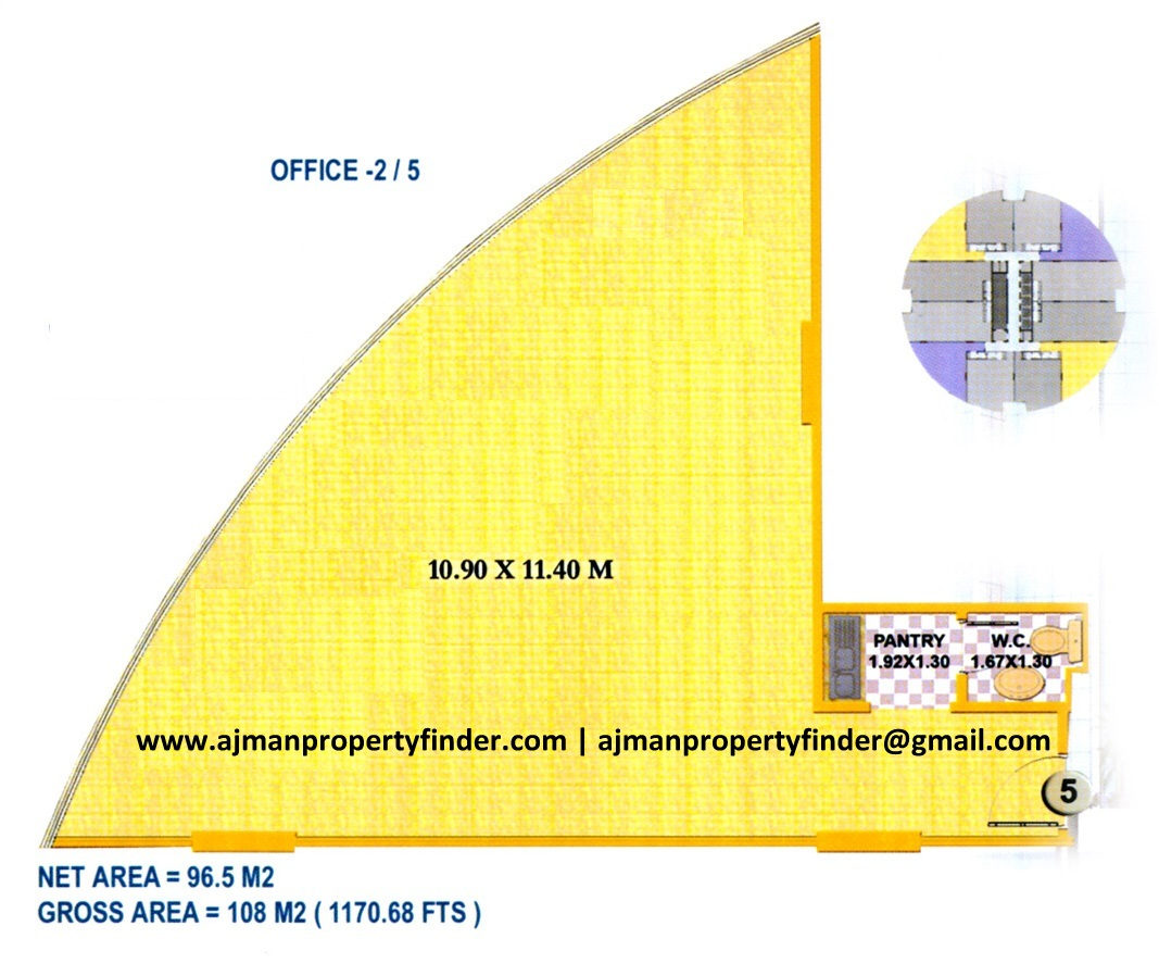 office floor plan | falcon tower ajman 1170 sqft | Ajman Property Finder
