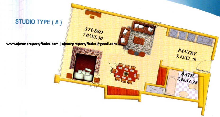 studio floor plan | falcon tower | type 1 | Ajman Property Finder